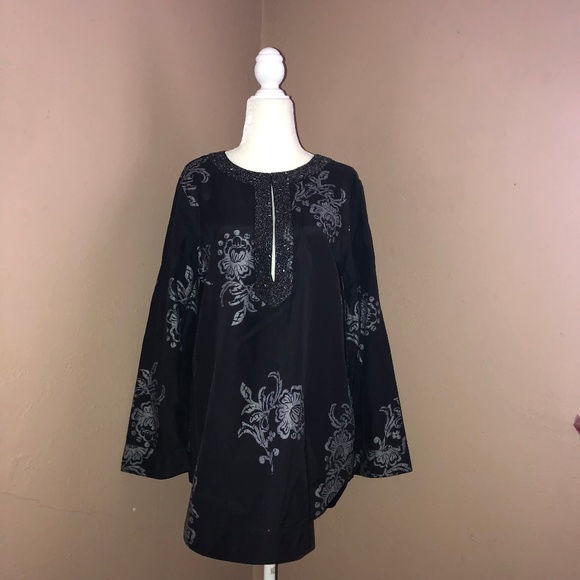 CHICO/'S $96 NEW TRAVELER BLACK EMBROIDERED HEM 3//4 SLV TUNIC TOP SIZE 1 M